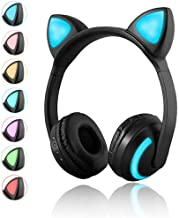 Luckyu Wireless Bluetooth Cat Ear Headphones with Mic 7 Colors LED Light Flashing Glowing On-Ear Stereo Headset Compatible...