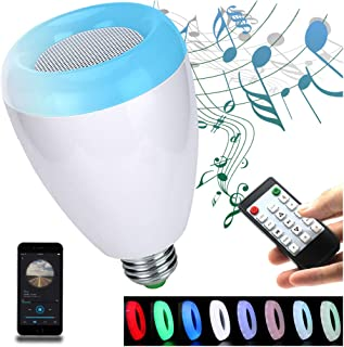 LED Light Bulb,Wireless Bluetooth Dimmable Lamp Bulb Speaker, E27 Base RGB Multicolor Changing LED Music Smart Bulb Light for iPhone, iPad and Android Phone.(White)