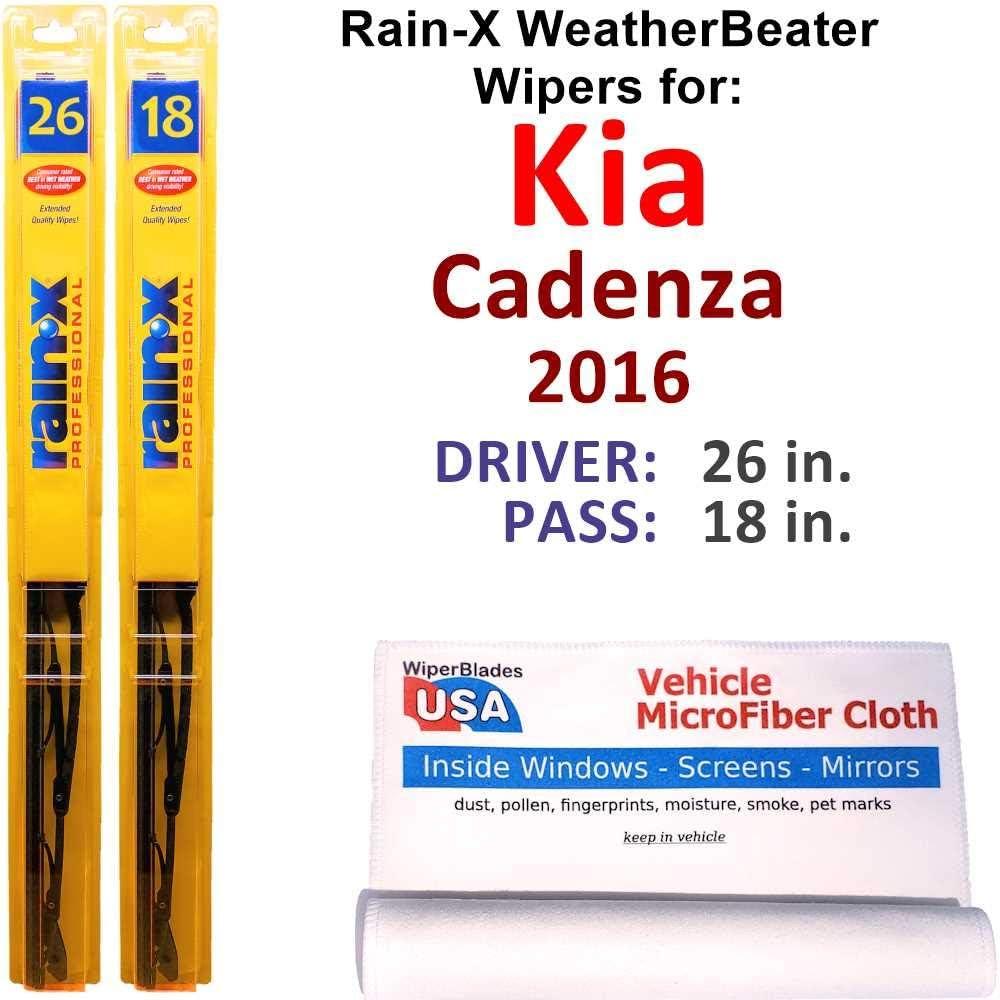Rain-X Regular store WeatherBeater Wiper Blades Sale Special Price for 2016 Kia Set Rain- Cadenza