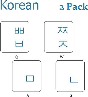 2PCS Pack Transparent Korean Keyboard Stickers, Korean Keyboard Replacement Sticker with Black Background and Blue Lettering for Computer Notebook Laptop Desktop Keyboards