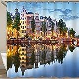 FOURFOOL Cortinas de Ducha,Amsterdam de Noche Holanda Holanda,Impermeable Cortinas Baño y Lavables Cortinas Bañera 180x180CM