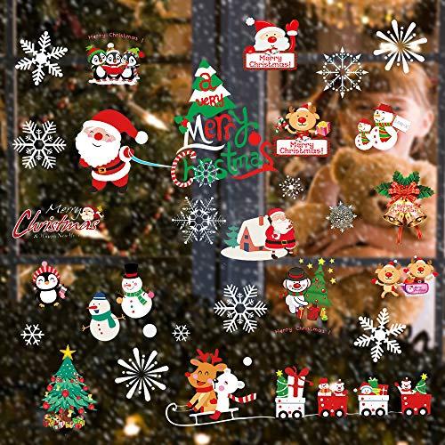 Heatigo Fensterbilder Weihnachten, 300 Schneeflocken Fenstersticker, Weihnachtsdeko Fenster,Fensteraufkleber PVC Fensterdeko Selbstklebend, für Türen Schaufenster Vitrinen Glasfronten Deko