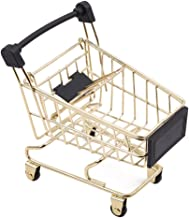 TraveT Mini Shopping Cart Toy Trolley Mobile Holder Storage Basket Desk Organizer Decoration Gift Basket, Gold