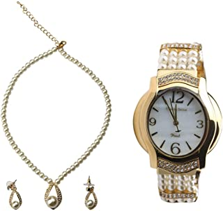 Charles Delon Watch Set For Women Analog Mixed - 5454 LGMB