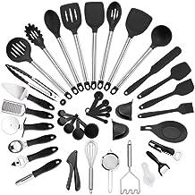 Cooking Utensils Kitchen Utensil Set 38-Piece Cooking Utensils Nylon and Stainless Steel Utensil Set Nonstick Spatula Set ...