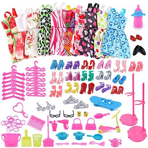 WENTS Kleidung zubehör Set Puppenkleidung Partei-Kleid Outfits und Accessoires für Barbie Puppen Geburtstag Party für Mädchen 114 Stück