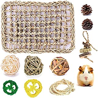 Fansisco Seagrass Protector Mat with Chew Toys or Rabbit Bunny Hamsters hilla Guinea Pigs or Other Rodent Pets (style1)