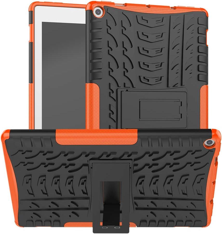 Boskin for K i n d l e F i r e hd 10 case 2019 2017 Release,Kickstand Heavy Duty Cover (Orange)