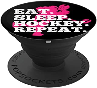 Pink Ice Hockey Gift Idea Girl Eat Sleep Hockey repeat - PopSockets Grip and Stand for Phones and Tablets