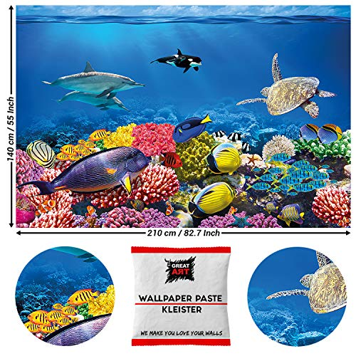 Great Art Fotobehang Ocean Onderwaterwereld 210 x 140 cm - 5 Teile + Kleister Riff