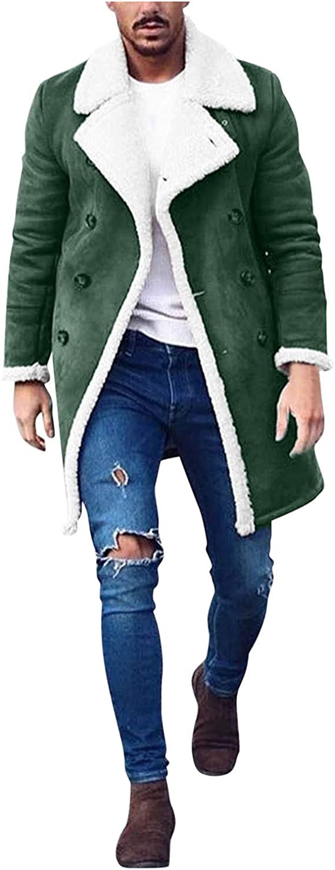 Mens Plus Size Heavyweight Sherpa Fleece Trench Coats Soft Warm Fur Lapel Long Collar Fuzzy Jackets Coats Outwears