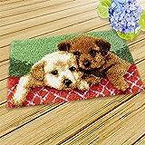 DIY Latch Hook Kit de alfombras Haciendo Kits Lovely Dog Cat Pattern Hilado de Ganchillo Alfombra Costura Cruzado Bordado Set para niños Adultos 19.7''x11.8 '', Perro Decoración para el hogar