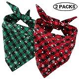 LUTER 2stk Weihnachten Hund Bandana, Plaid Dog Bandana Hund Halstuch mit Schneeflocke Muster, Baumwolle Dreieck Lätzchen Schals Welpen (S Größe, Rot und Grün)