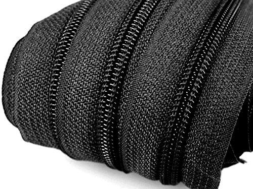 Schnoschi 6 m endlos Reißverschluss 5 mm Laufschiene + 15 Zipper Meterware teilbar Farbwahl (schwarz)