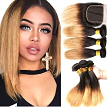 Hairitory Ombre Brazilian Straight Hair Bundles With Lace Closure 2 Tone Blone Ombre Virgin Human Hair Bundle with Closure 100g/PC (10 10 10with10,T1b-4-27)