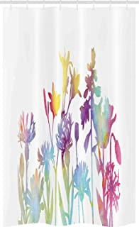 ABAKUHAUS Floral Stall Shower Curtain, Silhouette Look Color Change Floral Modern Watercolor Prairie Spring Look, Fabric B...