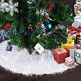 Chensensor Gonna Albero di Natale Bianco 48IN Tappeto Albero di Natale Gonna Base di Natale Decorazione Capodanno casa Festa Forniture