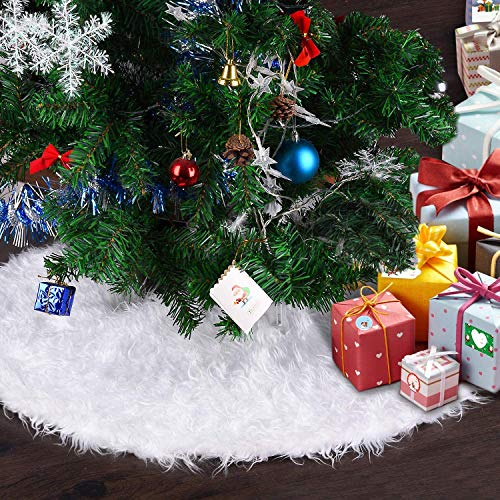 Chensensor Gonna Albero di Natale Bianco 48IN Tappeto Albero di Natale Gonna Base di...