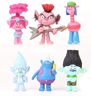 6pcs Trolls Toys Cake Toppers, Animal Figure Collection Playset, Cupcake Topper, Cake Decoration, Plant Pot Micro Land Decor