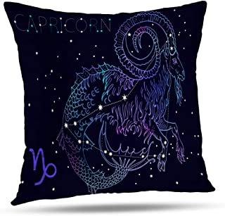 Kutita Mermaid Tattoo Decorative Pillow Covers, Capricorn Zodiac Sign and Constellation Cosmic Dark Blue with Stars Throw Pillow Decor Bedroom Livingroom Sofa 18X18 inch