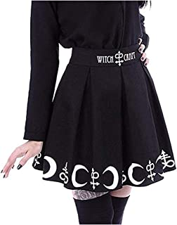 Ladies Black Moon Print Punk Gothic Pleated Skirt Gown Prom Dress Mini Casual Evening Dress