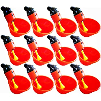 Ruosaren 6 Pcs Feed Automatic Bird Coop Poultry Chicken Fowl Drinker Water Drinking Cups Livestock Drinking Cup Poultry Tools