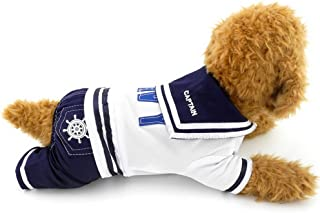 PEGASUS SELMAI Navy Sailor Captain Costume Four Legged Dog Jumpsuits,for Small Dog Cat Puppy Pet