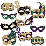 Big Dot of Happiness Mardi Gras Masks & Glasses - Paper Card Stock Masquerade Party Photo Booth Props Kit - 10 Count