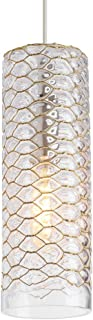 LBL Lighting LP964CR Lania - One Light Small Line-Voltage Pendant, Clear Brass Finish with Amber Glass