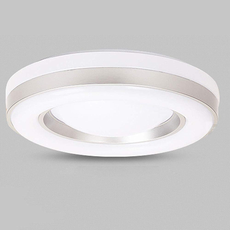 Wandun 36W LED Deckenleuchte, Runde Deckenlampe Arbeitszimmer Balkon Restaurant Zimmer Deckenbeleuchtung Wohnzimmer Lampe, Gre  50 cm [Energieklasse A++] (Farbe   Silber Weiß Light 50cm 36W)