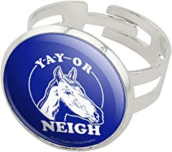 GRAPHICS & MORE Yay Or Neigh Nay Horse Funny Humor Silver Plated Adjustable Novelty Ring