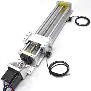 Electric Linear Stage Actuator Travel Length 400mm Ballscrew 1605 Double Optical Axis Linear Rail Guide Slide Stage C7 with Nema23 Motor and NPN Switch for DIY CNC Router Controller