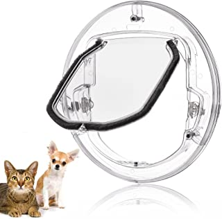 Fdit gato Tapa Tapa pequeñas mascotas perros gatos para puerta con 4 posibilidades Cerrar redondas transparente o blanco gato Tapa con puerta Liner Kit Best