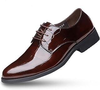 [Flova] 5cmUP シークレットシューズ メンズ ビジネスシューズ レースアップ 5CM背が高くなる 紐靴 本革 通気性 黒 ブラック/レッドブラウン 23.5-27cm