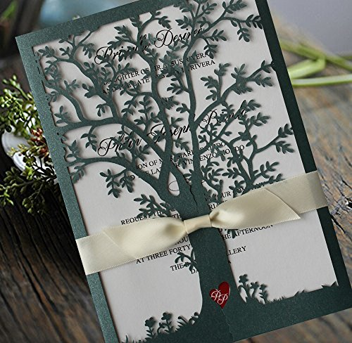 Green Color Tree Wedding Invitations, White Ribbon Invitation Cards, Laser Cut Tree Wedding Invitations - Set of 50