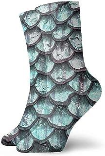 iuitt7rtree Calcetines Aqua Mermaid Scales Cojín absorbente de humedad Colorido Divertido No Show Low Cut Crew Calcetines