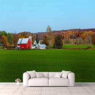 Modern 3D PVC Design Removable Wallpaper for Bedroom Living Room Landscape view of red Midwestern dairy farmhouse and land...