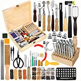 Jupean 424 Pieces Leather Working Tools and Supplies, Leather Craft Kits with Instructions, Leather Sewing Kit, Leather Tool Holder, Wooden Storage Box, Leather Stamping Set,Leather Tools and Supplies