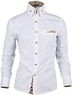 Allegra K Men Leopard Prints Decor Mock Pocket Long Sleeves Button Down Shirt