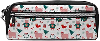 Beau Toby Christmas Pig Wearing Ugly Clothes Sigh Pencil case Makeup Bags with Zippers School Cosmetic Bags Gift for Boys