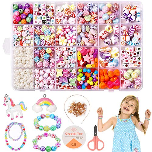 Sunshine smile Perlen zum auffädeln Kinder, DIY Armband Bunte Perlen Basteln Set, DIY Armbänder Set, DIY Perlenschmuck für Kinder, DIY Freundschaftsarmbänder Halsketten, 24 Farben