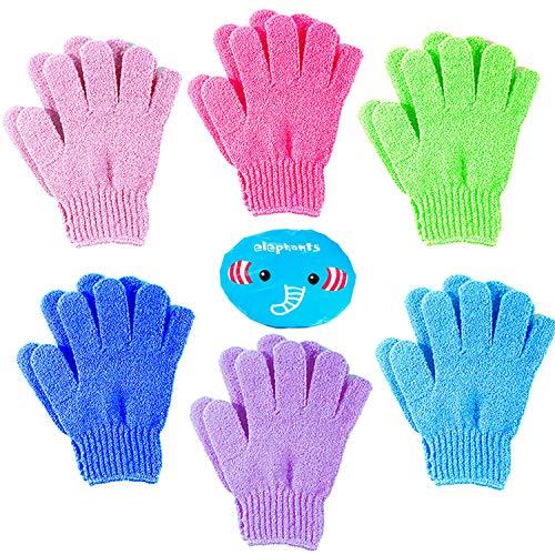 MOOKLIN ROAM 12 Stück Peelinghandschuhe für Körper, Doppelseitige Exfoliations Handschuhe Scrubbing Handschuh mit Elastisch Duschhaube für Körperpeeling Reinigt...