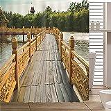 JFAFJ Cortina de Ducha Puente de Madera del Lago Resistente al Moho,Tejido de poliéster Efecto 3D,bañera y Cortinas con Ganchos,para Cuarto de baño o casa Tamaño:150x180