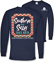Southern Couture SC Classic Southern & Sassy Since Birth on Long Sleeve Womens Classic Fit T-Shirt - Navy
