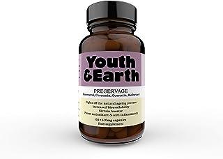 Youth & Earth Preservage | Cápsulas de Resveratrol de Alta Potencia 350%,| Curcumina, Pimienta Negra y Quercetina | Antioxidante Potente y Natural | Suplemento Anti-edad |60 Cápsulas Veganas
