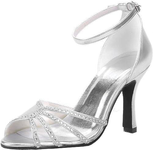 ZHRUI MZ606 Femmes Open Toe Stiletto Heel Rhinstone Mariage De Mariée en Satin à Bretelles Sandale (Couleuré   argent-9cm Heel, Taille   7.5 UK)