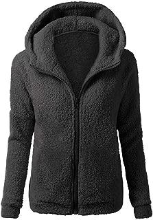 Fastbot Fleece Jacket Women Pullover Zipper up Fuzzy Warm Coat Shearling Fluffy Outwear Hoodie Hooded Sweatshirt Pocket