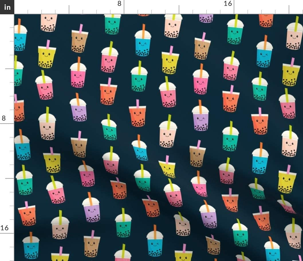 Spoonflower Special price Fabric - Tea Kawaii Phoenix Mall Cute Navy Bubble F Food Japanese