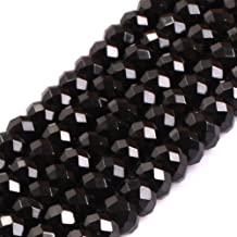 GEM-Inside Black Spinel Gemstone Loose Beads 4x6mm Natural Faceted Rondelle AAA Grade Spacer Crystal Energy Stone Power Beads for Jewelry Making 15