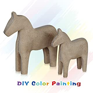 FishMM Set of 2 Europe's Swedish Unfinished Wooden Dala Horse Figurine, Dalecarlian Horse Ornaments, DIY Color Painting Classical Handicraft Statue